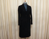 RESERVED Vintage Black Wool Womens' Winter Coat Overcoat
