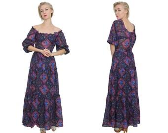 1970s Chiffon Boho Peasant Gown | S | Semi Sheer Boho Ruffle Maxi Dress Small