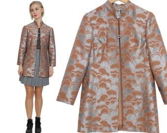 60s Silver Cloud Brocade Blazer / Oriental Nehru Collar Metallic Jacket  / S / M