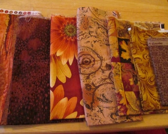 Cotton Fabric Lot Remnants in Oranges and Browns