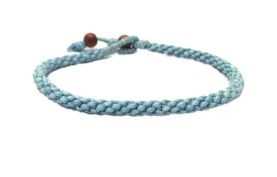Handcrafted Fair Trade Pale Blue Cotton Thai Buddhist Wristband Bracelet Classic Wristwear