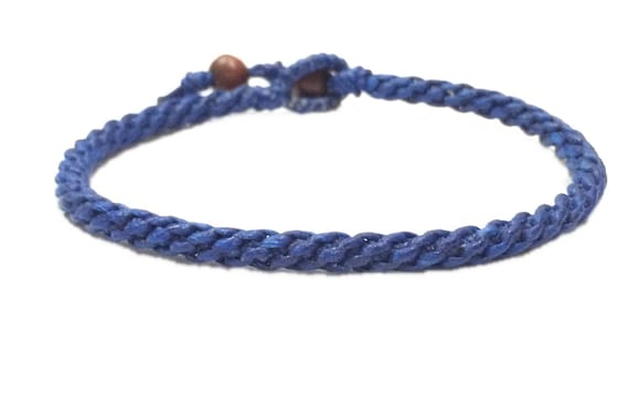 Fair Trade Classic Royal Blue Cotton Handcrafted Thai Buddhist Wristband Bracelet