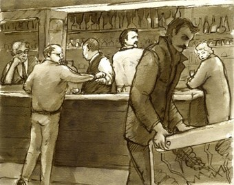 Original Pen and Ink Drawing, Au Cafe, Pinball. Reed Pen and Sepia Ink on Sketch Paper, Signed Original Drawing