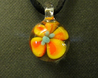 Glass Flower Pendant Necklace Lampworked Boro Focal Bead