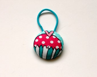 Cupcake Fabric Covered Giant Button Pony Holder