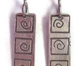 Silver Etched Rectangle Earrings