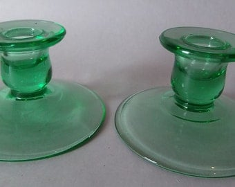 Green Depression Era vintage Pressed Carnival Glass Two 2 Pair Candle Sticks Holders