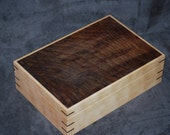 "Impressive Quilted Maple and Walnut Jewelry Box.12"" x8"" x 31/2"""