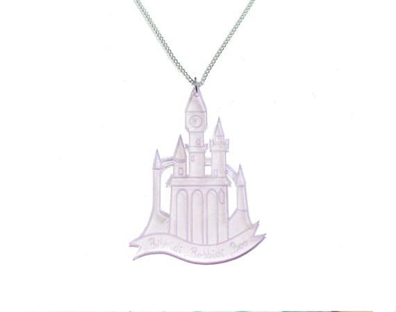 cinderella castle necklace in pink cinderella by ilovecrafty