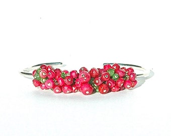 Ruby & Garnet Gemstone Cuff / Green Tsavorite Gemstone / Sterling Silver Bangle / Wire Wrapped / Pink Red Bracelet / OOAK