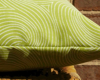 SALE ~ Outdoor Pillow :Lime Green Swirl Indoor Outdoor 18 X 18 inch Accent Throw Pillow Cover
