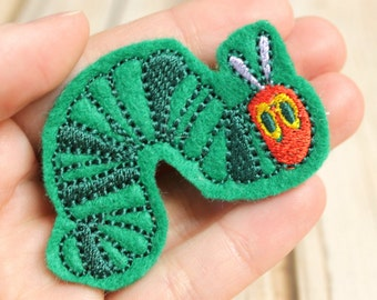 Hungry Caterpillar Hair Clip, Felt Hair Clippie, Machine Embroidered, Snap Clip, Non Slip, Ready to Ship