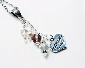 Bridesmaids Wedding Gift. Thank You Bridesmaids Gift. Wedding Necklace Charm. NKL014