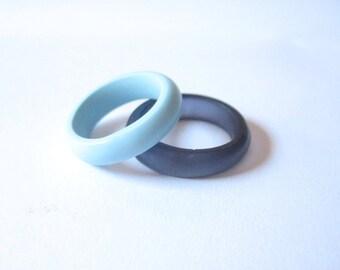 Powder blue ring , blue stacking resin ring jewelry , skinny stacking resin ring , blue resin ring , US Ring Size 8 , rings , pale blue ring