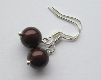 Simple Maroon 8mm Swarovski Pearl Sterling Silver Earrings
