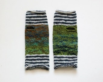 Tropical Fish Striped Hand Knit Wrist Warmers