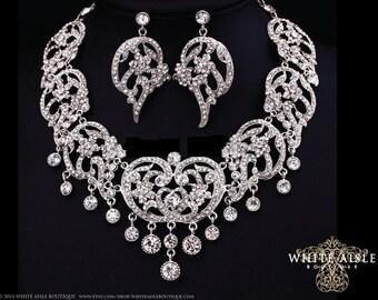 Crystal Statement Necklace, Wedding Jewelry Set, Bridal Statement Necklace Earrings, Bridal Earrings, Vintage Inspried Drop Neckace