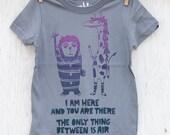 The Air Between - Lion and Giraffe - cute silk screened kid's graphic t-shirt