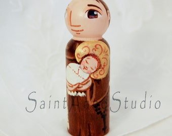 Catholic Saint Toy - St Anthony of Padua Italy Wooden Doll - Made to Order