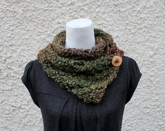 SCARF green knitted chunky womens - Herb Garden diagonal lace button scarf,  super soft, knitwear UK, VEGAN, gift ideas