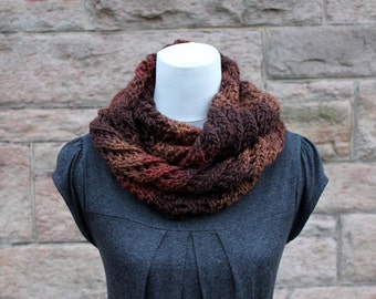 SCARF knitted brown lace infinity, loop circle scarf, knitwear UK, gift ideas