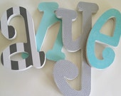 4, Baby name Wood Nursery Letters, 8 inch, Set of Four, Wooden Letter Decor, Personalized, Custom Choice of Colors, Hanging