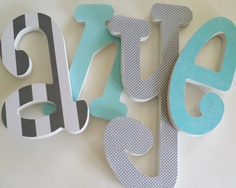 Set of 4, Baby name Wood Nursery Letters, 8 inch, Wooden Letter Decor, Personalized, Custom Choice of Colors, Hanging