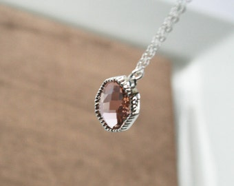 Peach Necklace,Silver Necklace,Long Necklace,Dainty Necklace,Layering Necklace,Delicate Necklace,Layered Necklace,Minimal Necklace