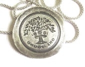 Silver Coin Tree of Life Necklace.Coin Replica Pendant.Vintage Style.Unisex Jewelry.Leather Necklace.Dad Mom gift.Valentine day gifts