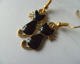 Cute, small, Black, black and gold, enamel, CAT, earrings, gold plated, whiskers, by NewellsJewels on etsy
