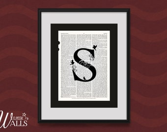 S MONOGRAM S - Letter S, Wedding Gift, Upcycled Book Art, Housewarming Gift, Vintage Dictionary Art Print, Last Name Art, Home Decor