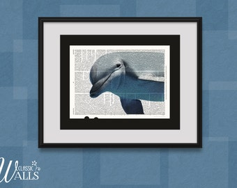 Dolphin Photo - Dictionary Art Print, Upcycled Book Page, Dolphin Home Decor, Nursery Decor, Nautical And Beach Art, Wildlife Photography