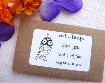 Set of 25 - owl always love you - Seed Packet Favor- FILLED WITH your choice SEEDS- rustic, owl, spring, garden, wedding favor