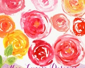 Watercolor hand drawn Rose PNG overlays