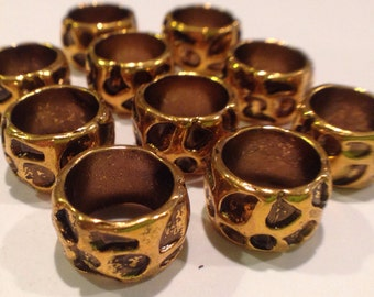9mm ID Large hole bead textured gold plated  10pk