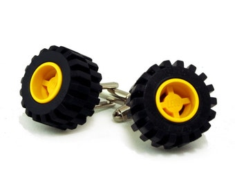 Offroad tires yellow wheel cufflinks made with LEGO® bricks FREE SHIPPING gift idea