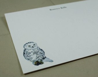 Snowy Owl Custom Notecard Stationery. Thank You, Any Occasion, Personalize Watercolor Print, Set of 10.