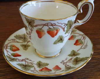 Vintage Crown Staffordshire England Tea Cup and Saucer, Hand Painted Strawberries
