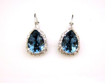 christmas wedding jewelry bridal prom party swarovski denim navy blue teardrop rhinestone clear trim setting on silver lever back earrings