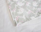 Grey & Pink Elephants Waterproof Changing Pad - large