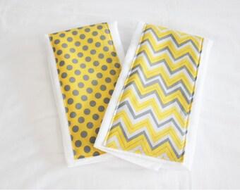 Yellow and Grey Chevron and Polka Dot Burp Cloths - Set of 2