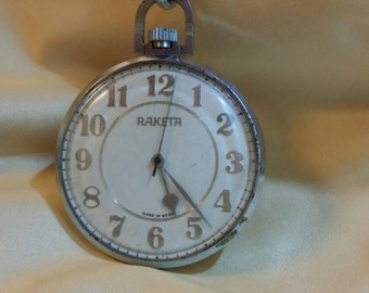 Antique open faced pocket watch on silver chain