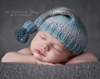 Knit Baby Hat, Photography Prop, Newborn Baby Hat, Photo Prop, Knit Photo prop, Photo Shoot Prop, Striped Hat, Boy Hat