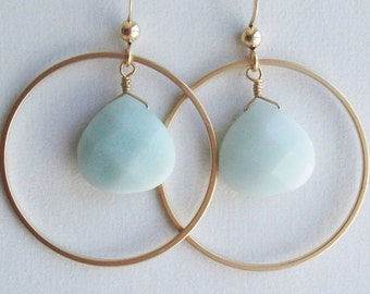 Amazonite Earrings, Circle earrings, Gold Earrings, Blue earrings, Hoop Earrings, gift for Birthday, her, Sister, Mom, Bridal, Wedding