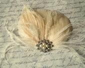 Wedding Hair Facsinator, Bridal Facsinator, Feather Fascinator, French Net, Rhinestones, Pearls, Bridesmaid Accessory, Ivory Fascinator