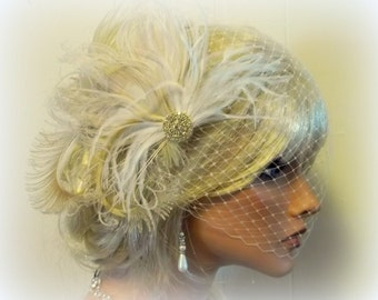 Wedding Hair Clip, Bridal Fascinator,French Net Bridal Veil, Gold Brooch, Feather Fascinator, Ivory Wedding Fascinator, Gold Champagne