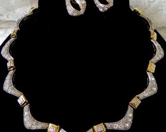 Stunning Two Tone Rhinestone Necklace & Earring Set /  Silver tone  /