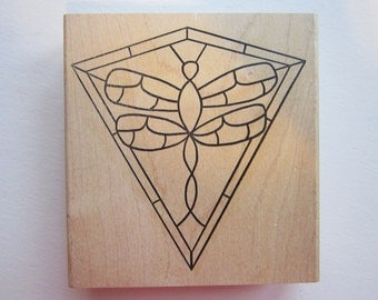 rubber stamp - stained glass DRAGONFLY kite - make an impression