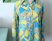 Vintage Ship and Shore Blouse, Pucci Style Print, Spring Fashion, Womens Size 8/34