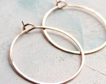 "Delicate Jewelry - Rose Gold Hoop Earrings - Small Hoop Earrings ( 1"" ) thin hoop earrings, gold hoop earings, pink gold earrings, hoops"